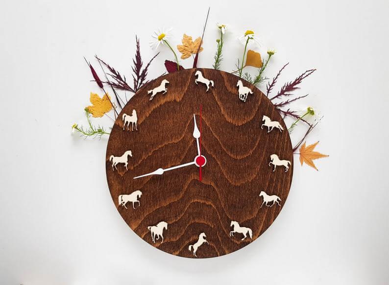 Horse Theme Wooden Wall Clock