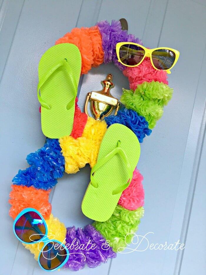 Crazy Eight Flip Flop and Lei Summer Fun Unique Wreath