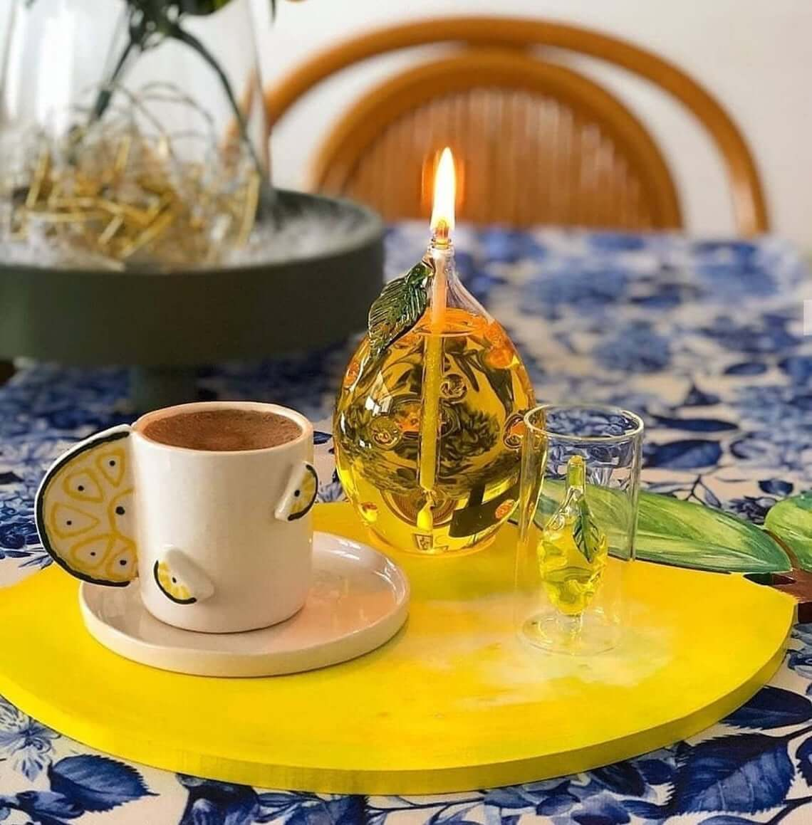 Lemon Shaped Glass Oil Lamp