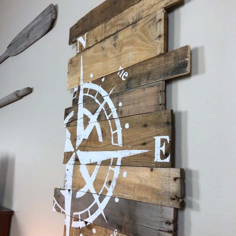 Destination Ocean Escape Wooden Compass Sign