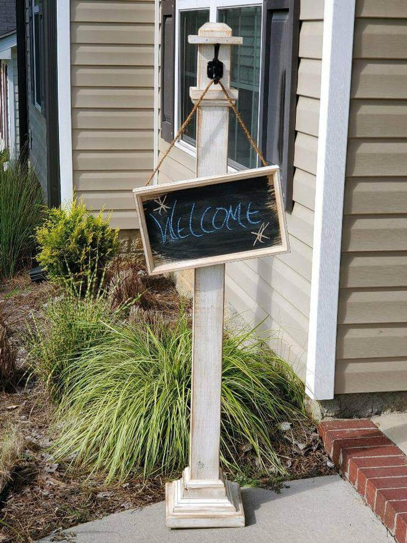 Welcome Post with Chalk Board Sign