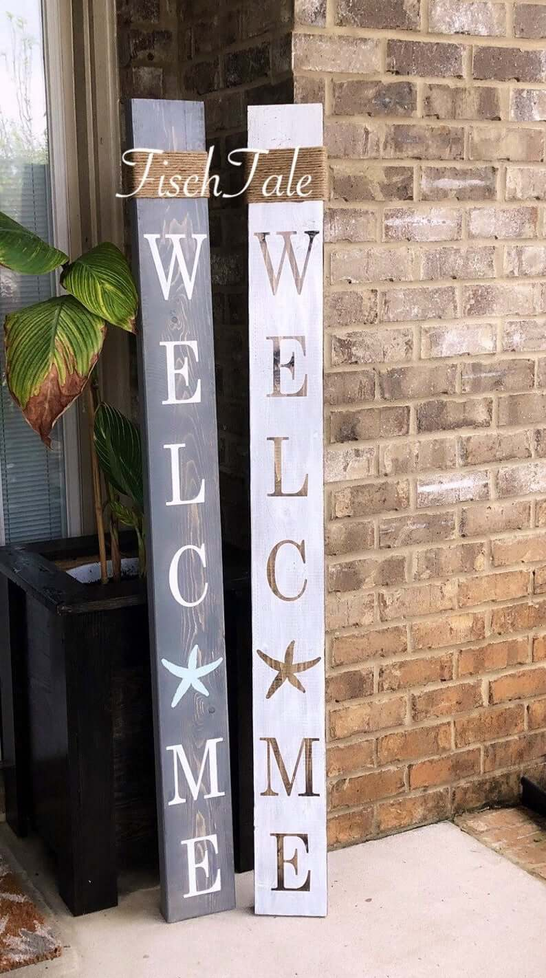 Starfish and String Wooden Welcome Sign
