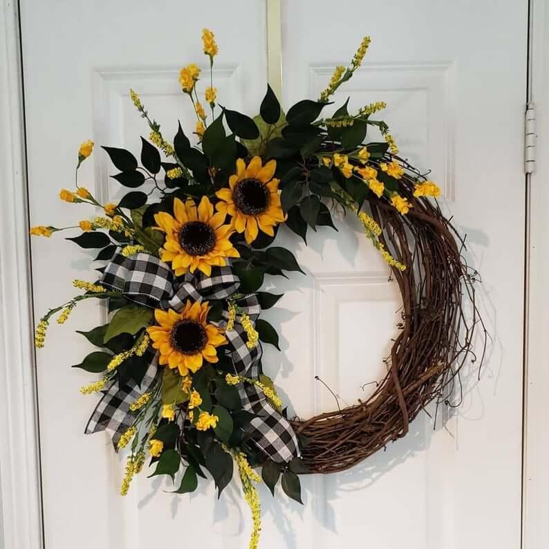 Rural Sunflower Front Door Wreath
