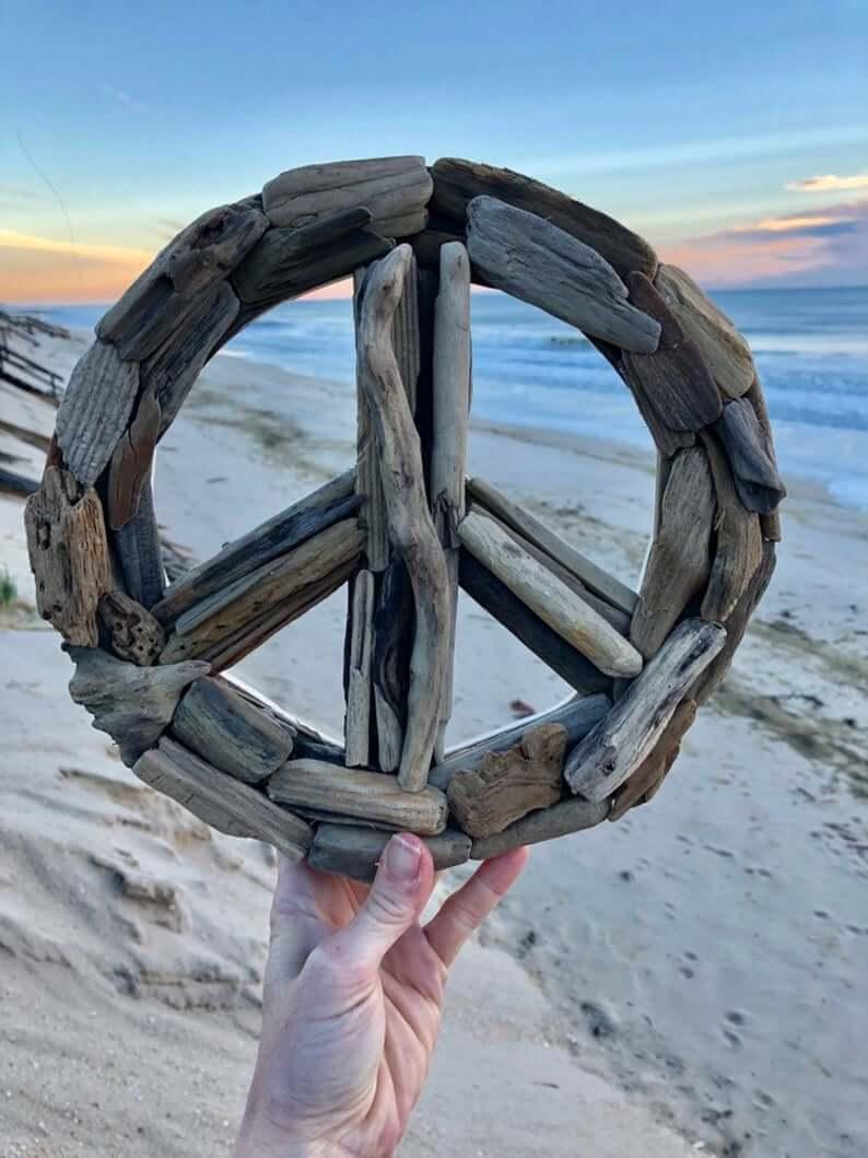 Peace Out Cool Driftwood Beach Art