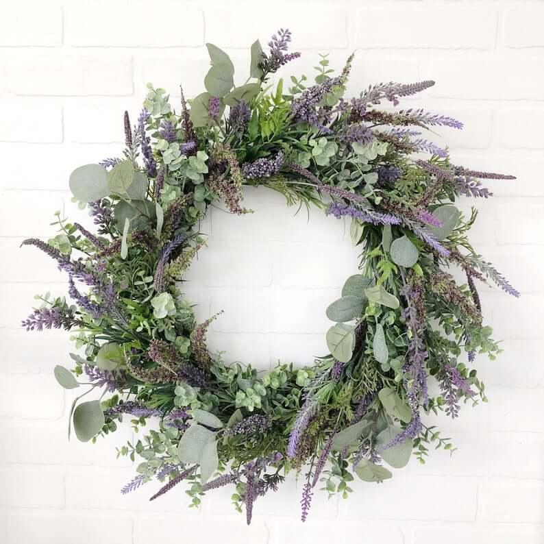 Mixed Eucalyptus and English Lavender Wreath