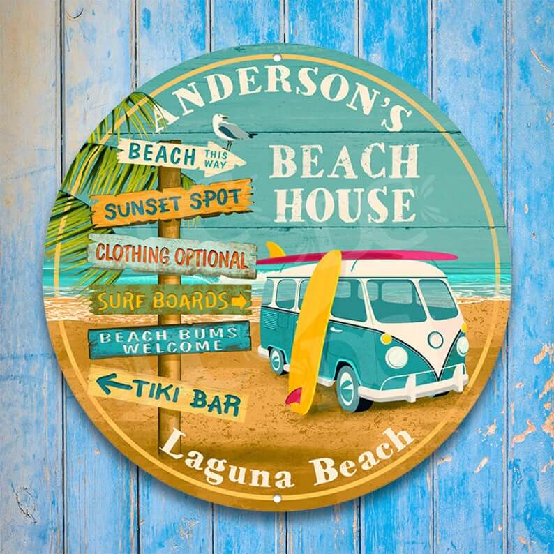 Vintage Beach Bus and Surf Side Sign