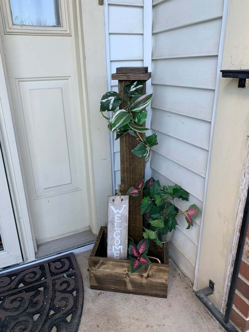 Rustic Wooden Porch Post Planter