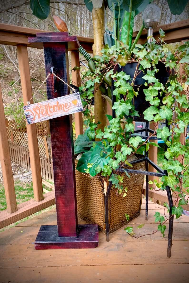 Cranberry Colored Porch Post Decoration