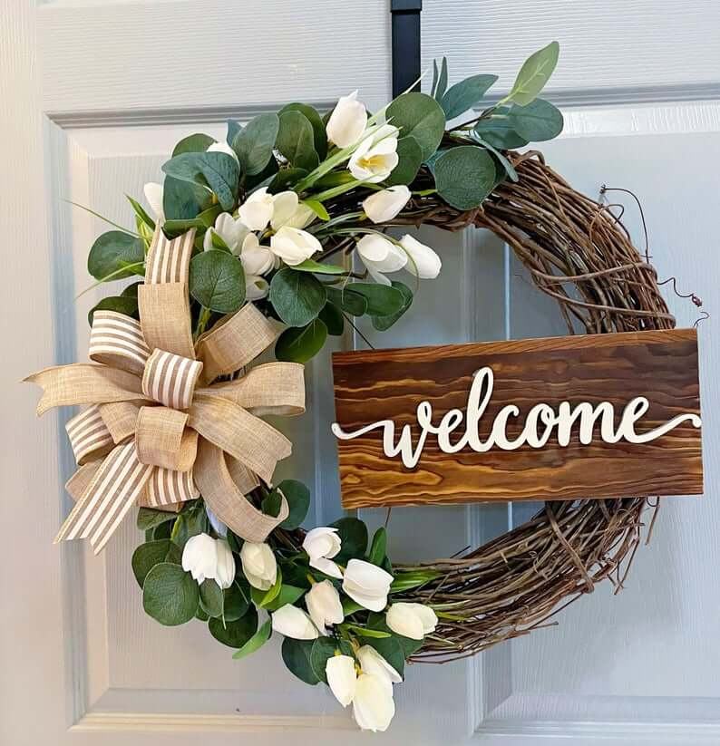 Large Rustic Wreath with Welcome Sign