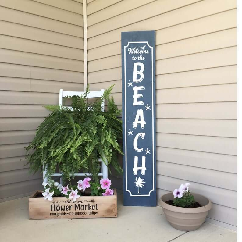 Welcome to the Beach Vertical Porch Sign