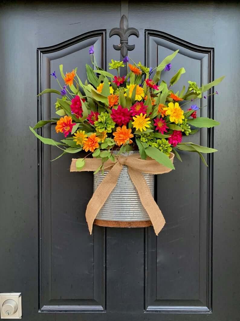 Multi-Colored Daisy Basket Summer Wreath