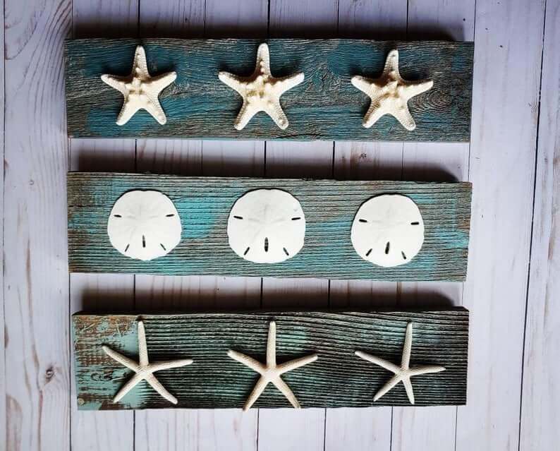 Trio of Sea Treasures Distressed Wood Signs