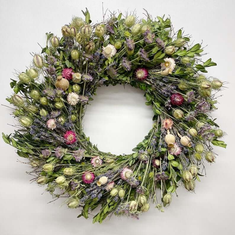 Lush Wildflower and Lavender Wreath