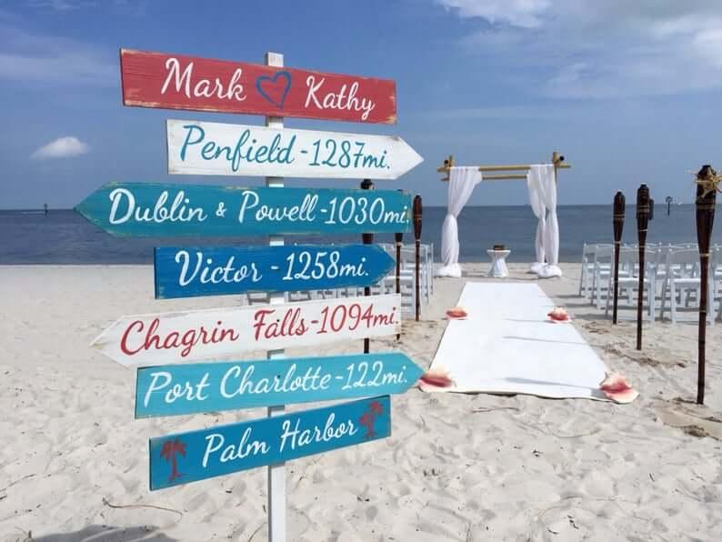 Gorgeous Road to Marriage Beach Wedding Sign
