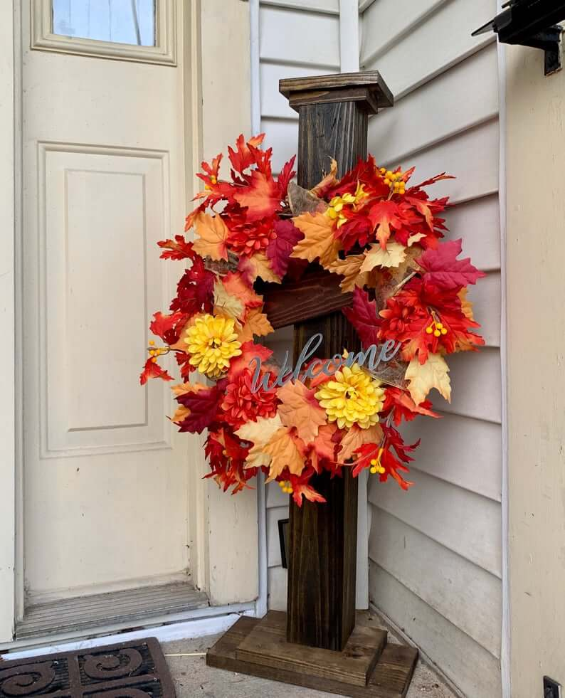 Fall Welcome Porch Post Décor