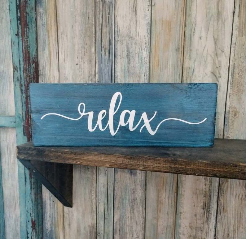 Vibrant and Rich Blue Relax Beach Sign