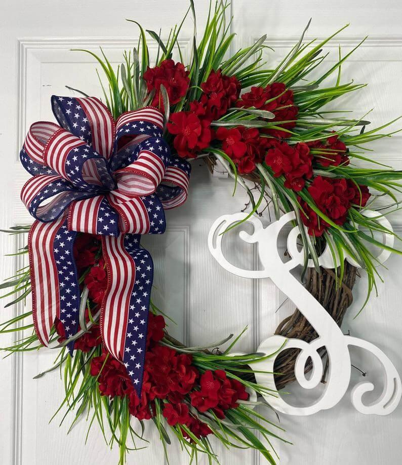 Red Geranium Flower Wreath with Monogram Letter