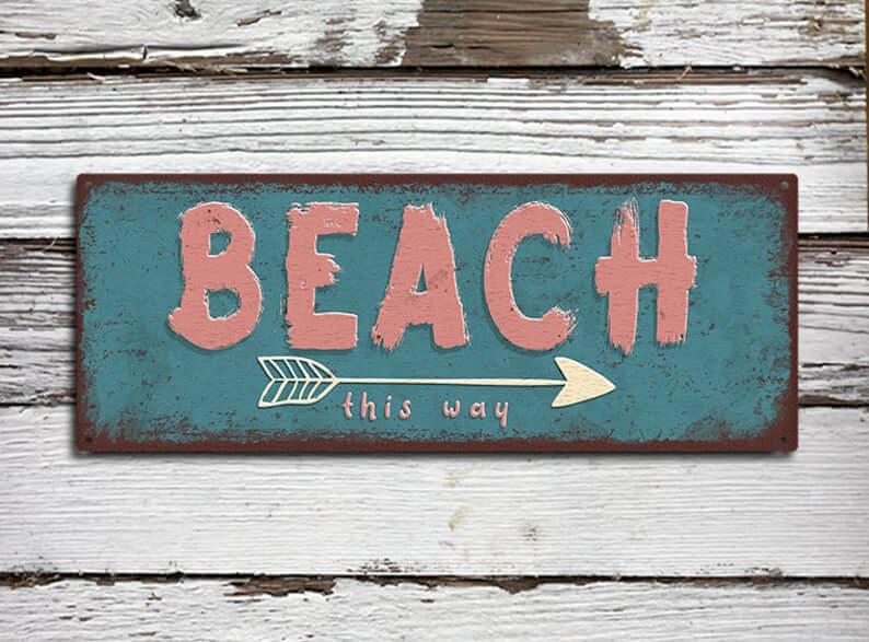 Rustic Metal Beach This Way Sign