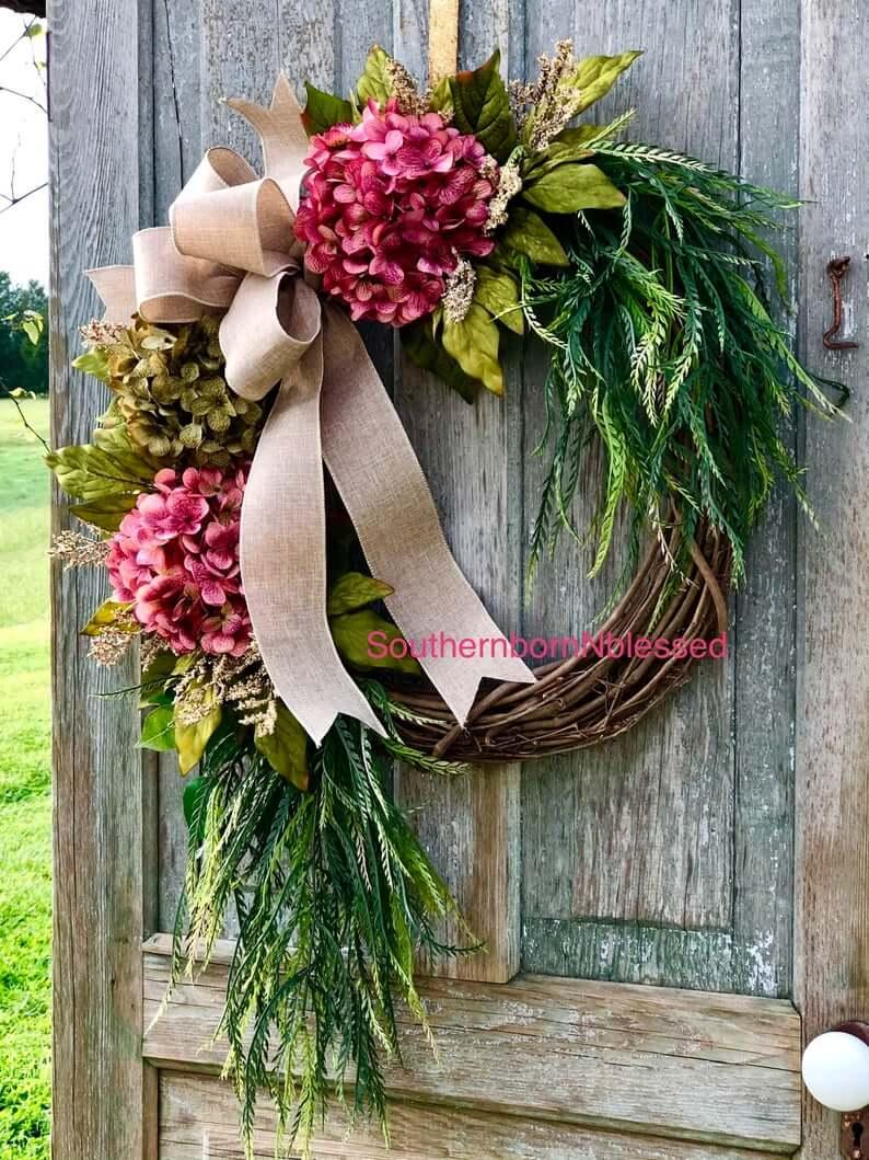 Pink Hydrangea Farmhouse Summer Wreath