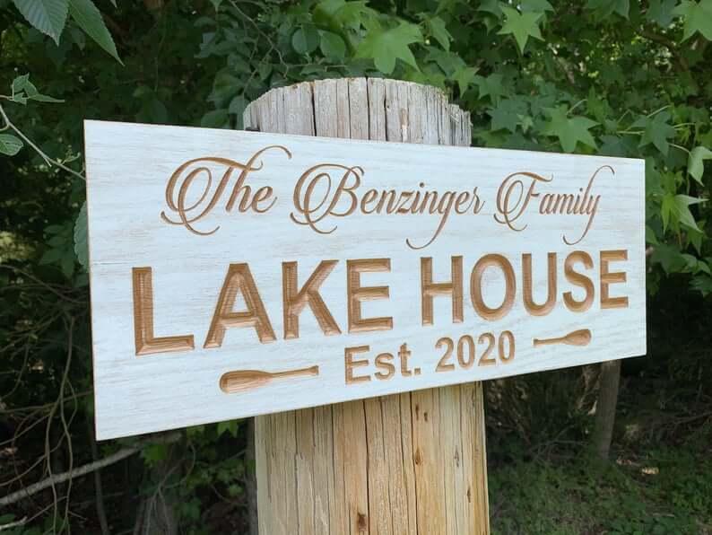 Elegantly Etched Custom Lake House Wooden Sign