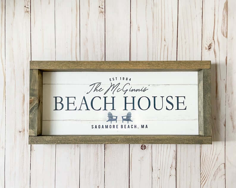 Shiplap and Rustic Wood Beach House Sign