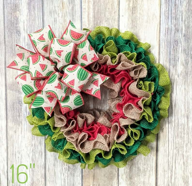 Watermelon Theme Burlap Colored Wreath