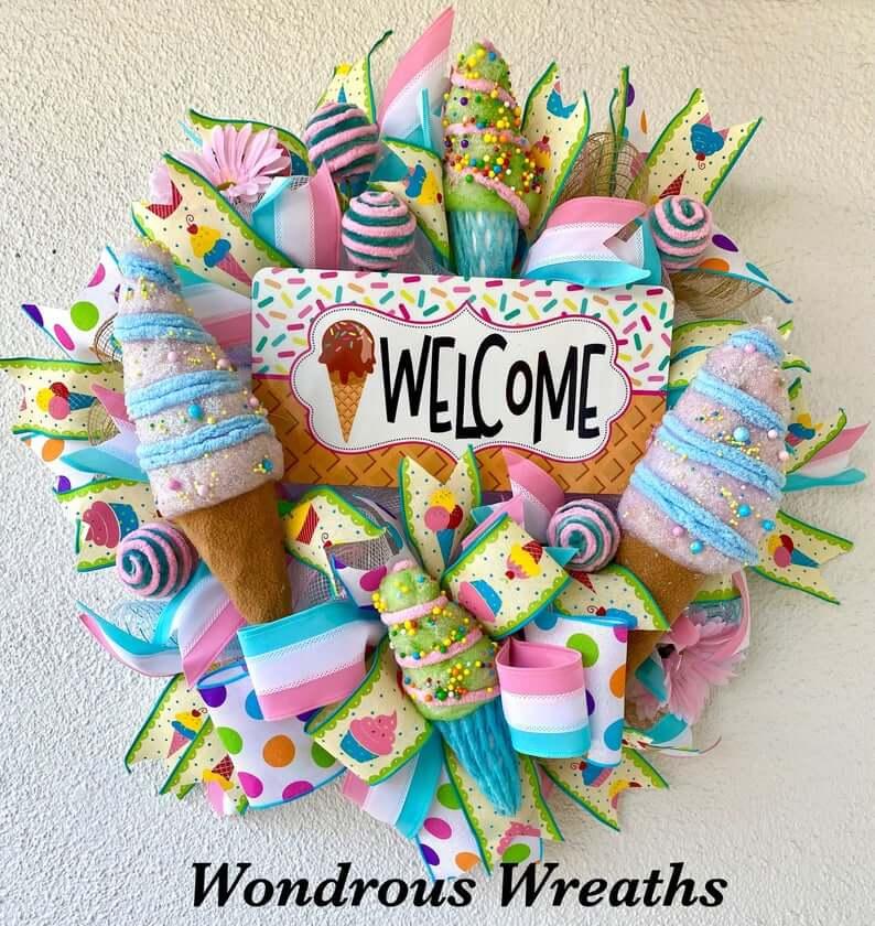 Vivid Ice Cream Theme Welcome Wreath