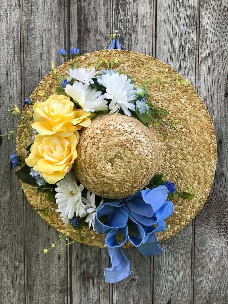 Summer Garden Hat Flower Wreath