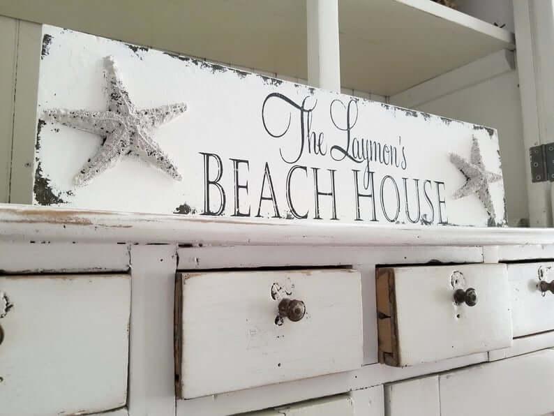 Shabby Chic Starfish Vintage Beach House Sign
