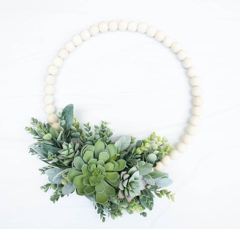 Wood Bead Succulent Floral Wreath