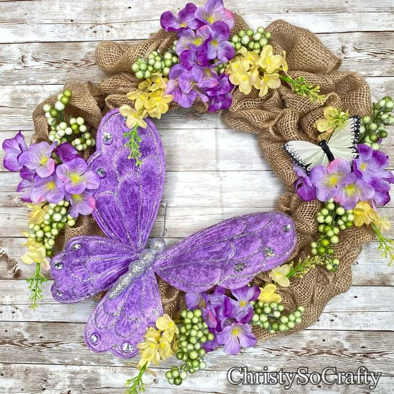 Colorful Butterfly Burlap Summer Wreath