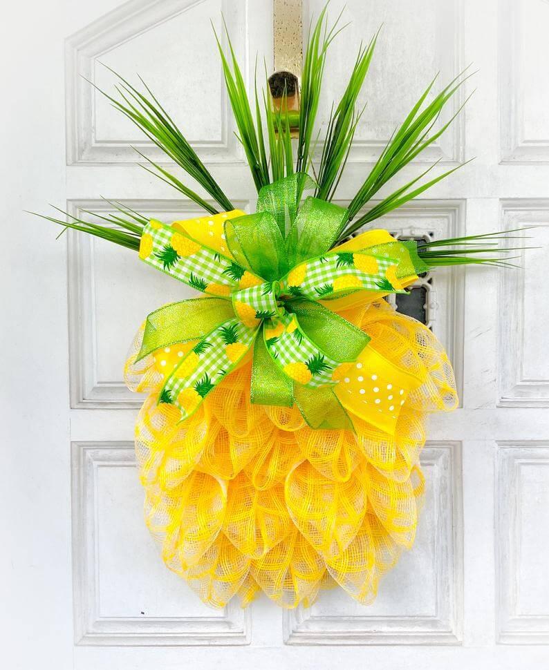 Pineapple Ribbon Door Hanger Wreath