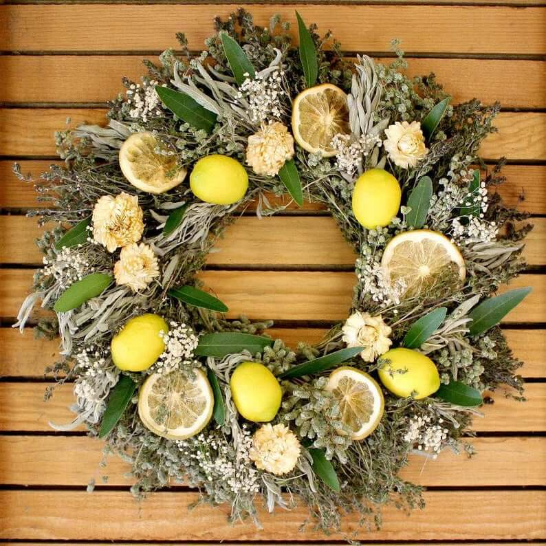 Herbal Faux and Reserved Lemon Wreath