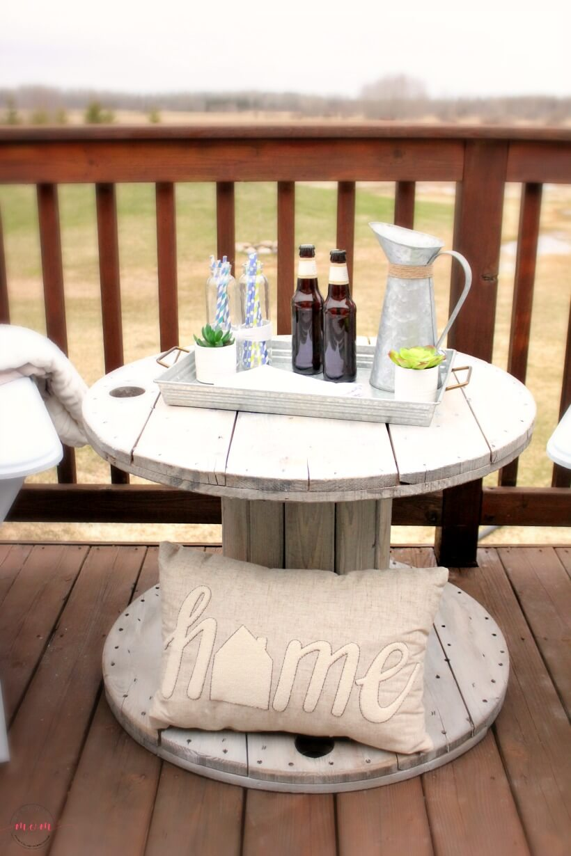 Repurposed and Reclaimed Wire Spool Outdoor Table