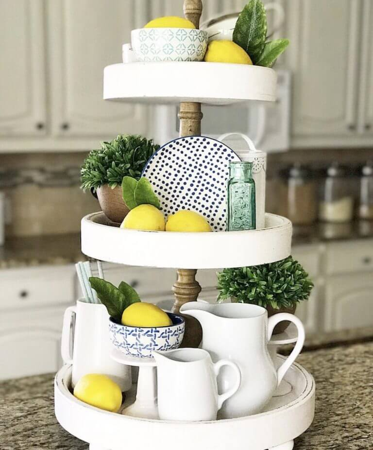 Solid Wood Three-Tiered Rustic Tray