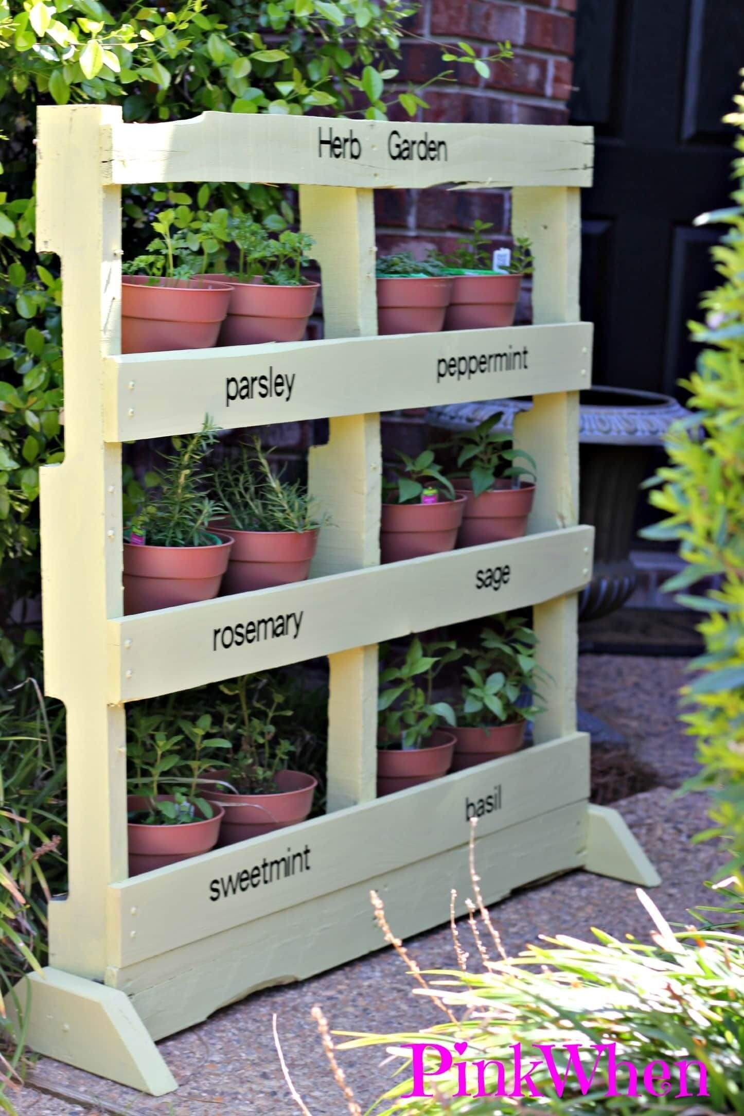 Perfectly Potted Pallet Vertical Herb Garden