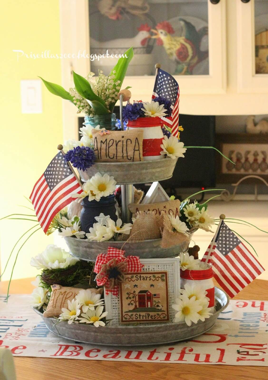 Rustic Memorial Day Tiered Summer Tray