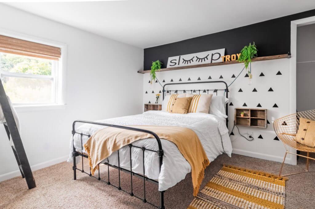 Industrial Bedroom in Geometric and Mustard
