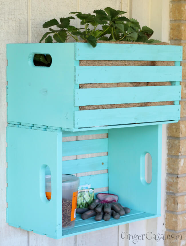 Stacked and Painted Pallet Crates Outdoor Storage
