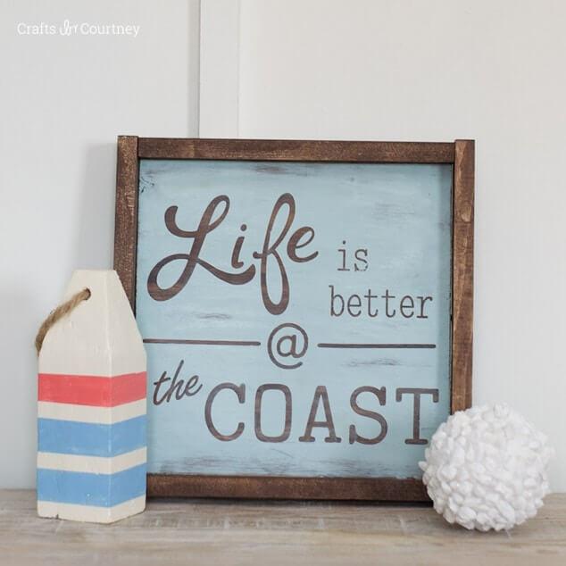 Cute Coastal Life Square Summer Sign