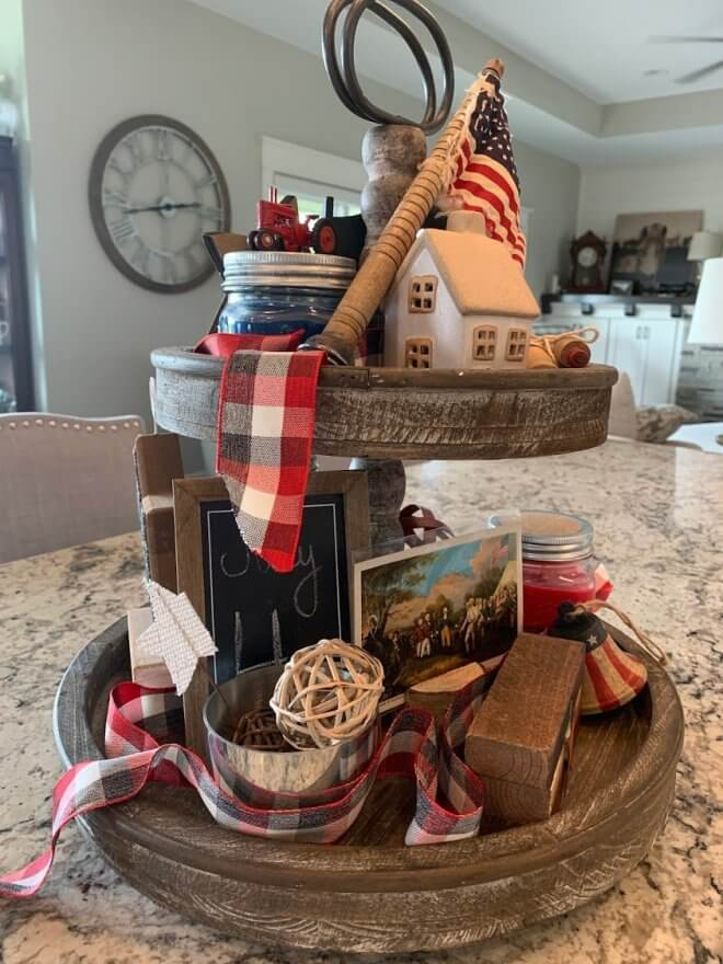 Patriotic Aged Wood Tiered Tray with Metal Handle
