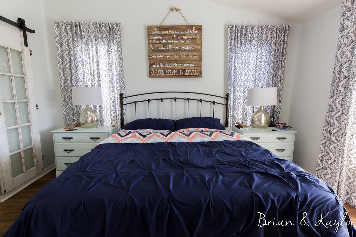 Nautical Bedroom in Navy and Damask