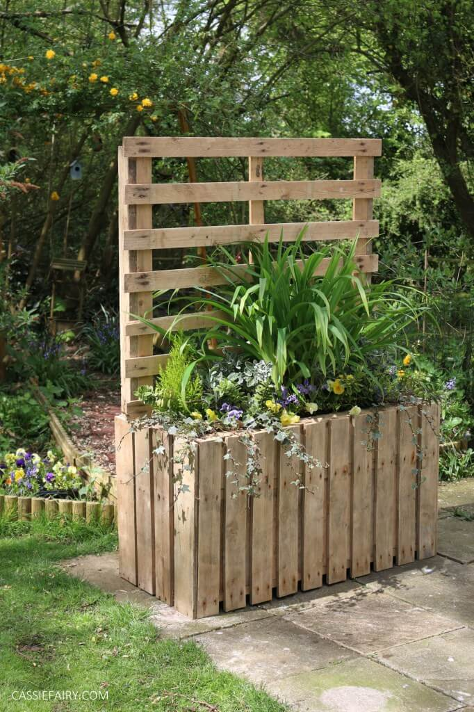 Large Wooden Pallet Planter Box with Back