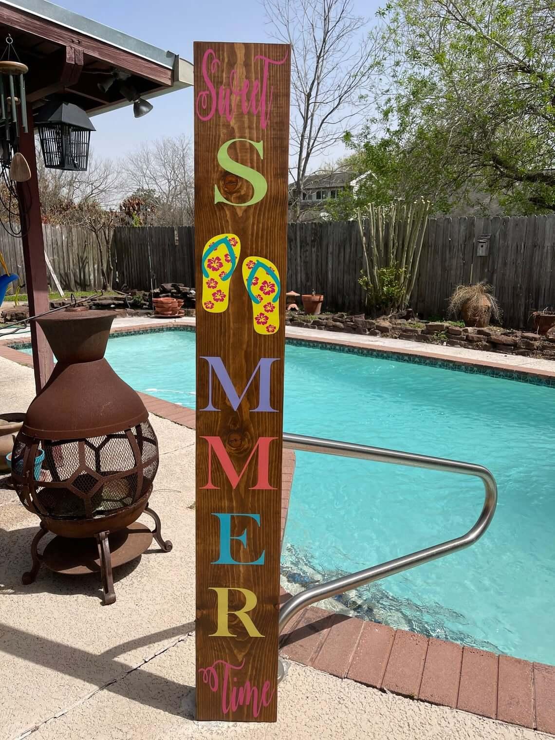 Vertical Wooden Sweet Summertime Sign
