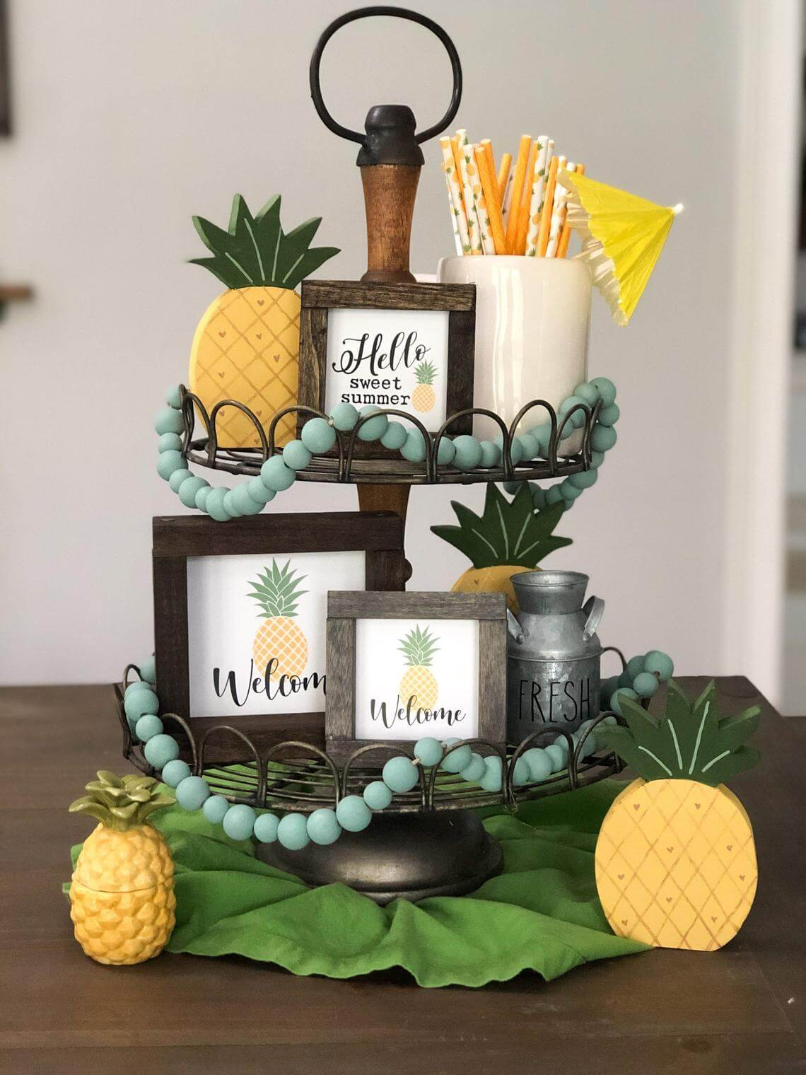 Summer Farmhouse Style Tiered Tray