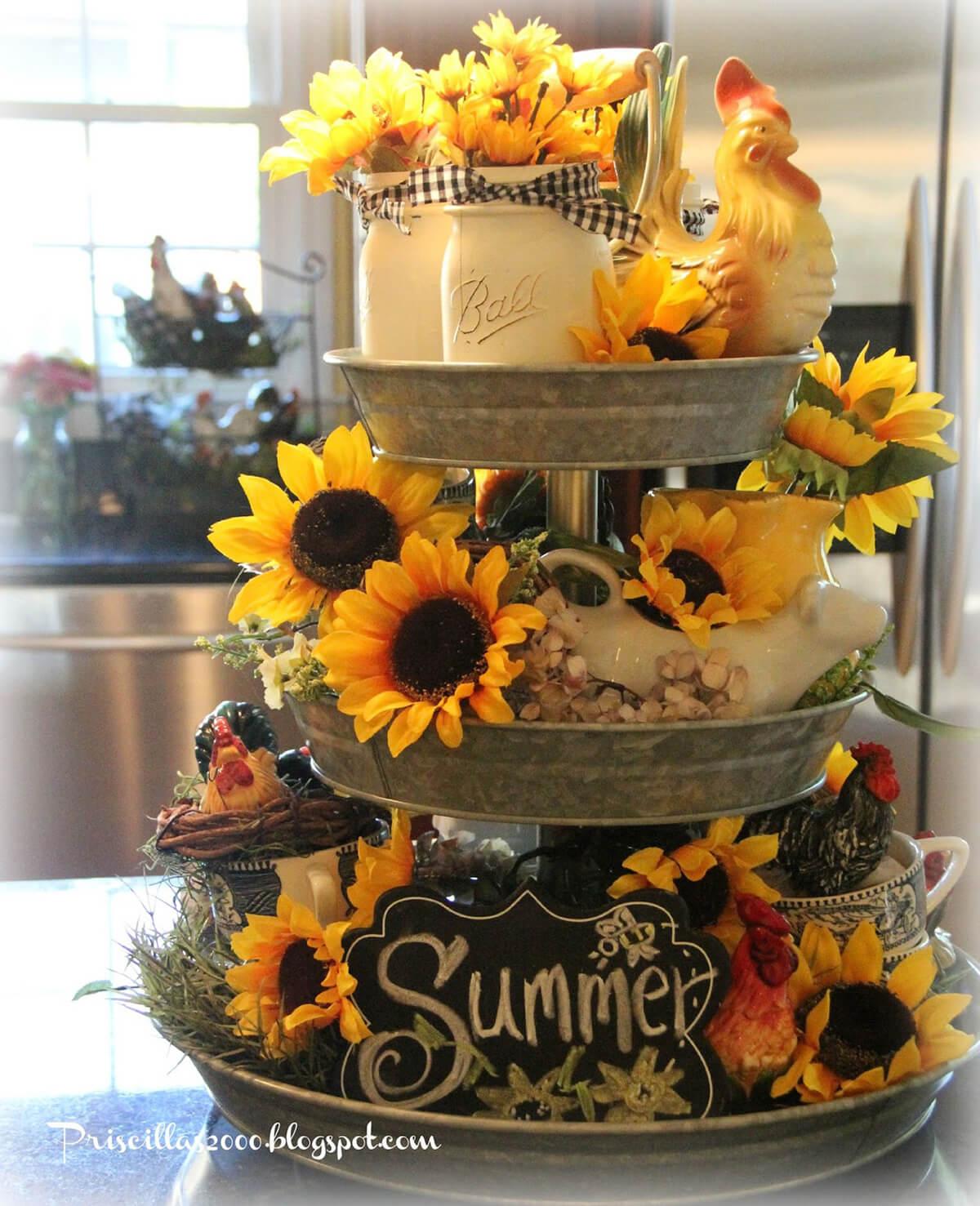 Sunflower Summer Tiered Tray Display