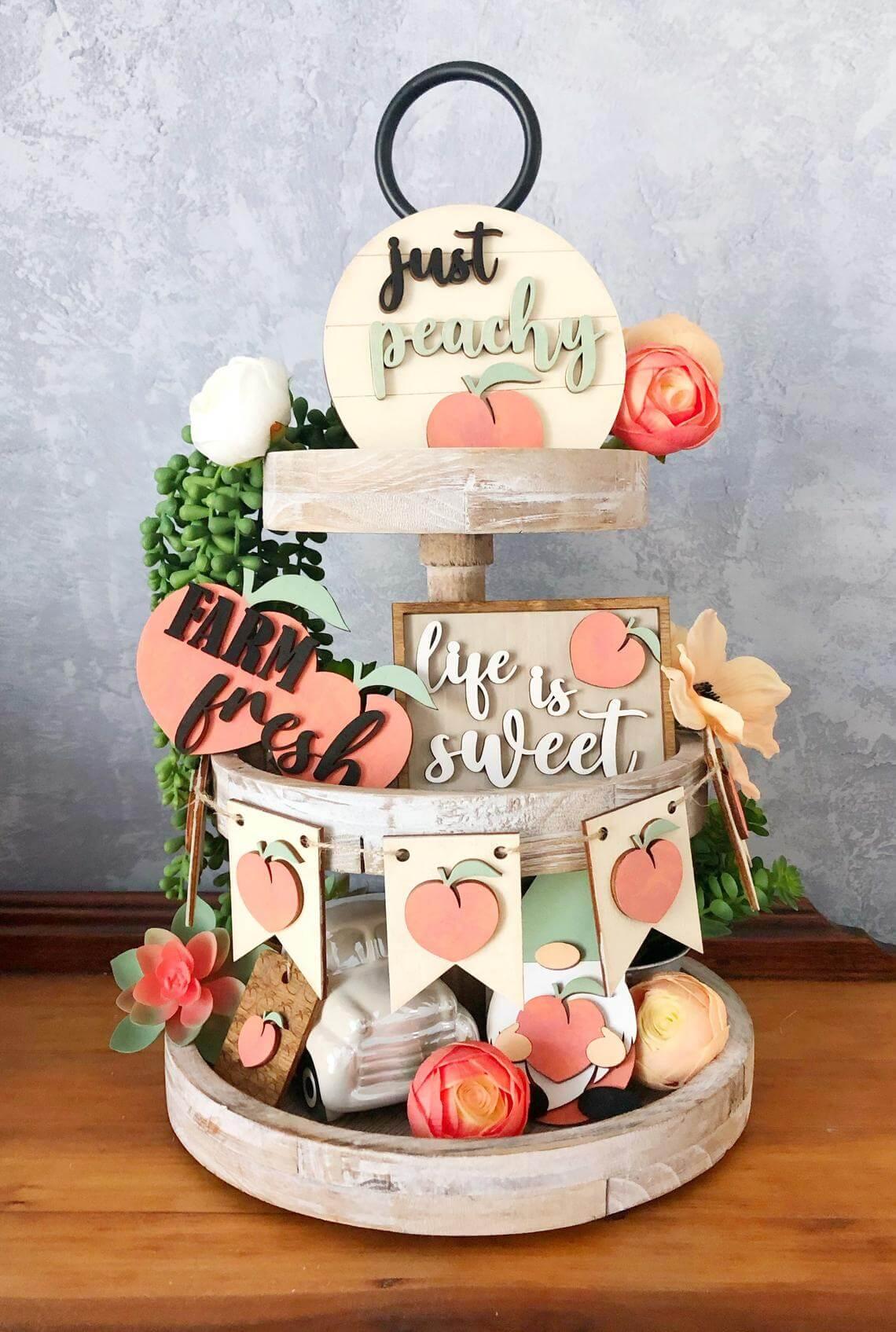 Peach Themed Summer Tiered Tray Décor