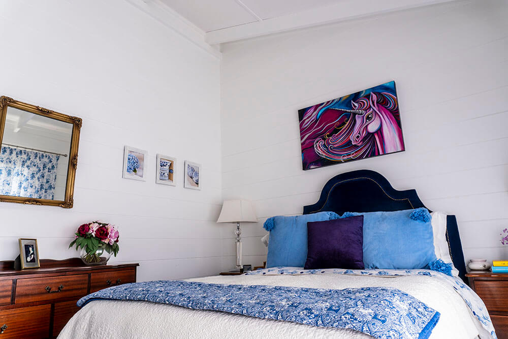 Bright Bedroom in Blue and White