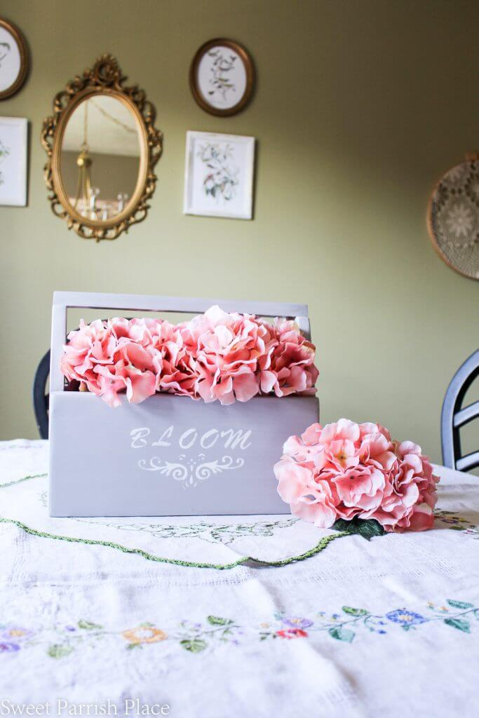 Bloom Stenciled Crate Flower Caddy