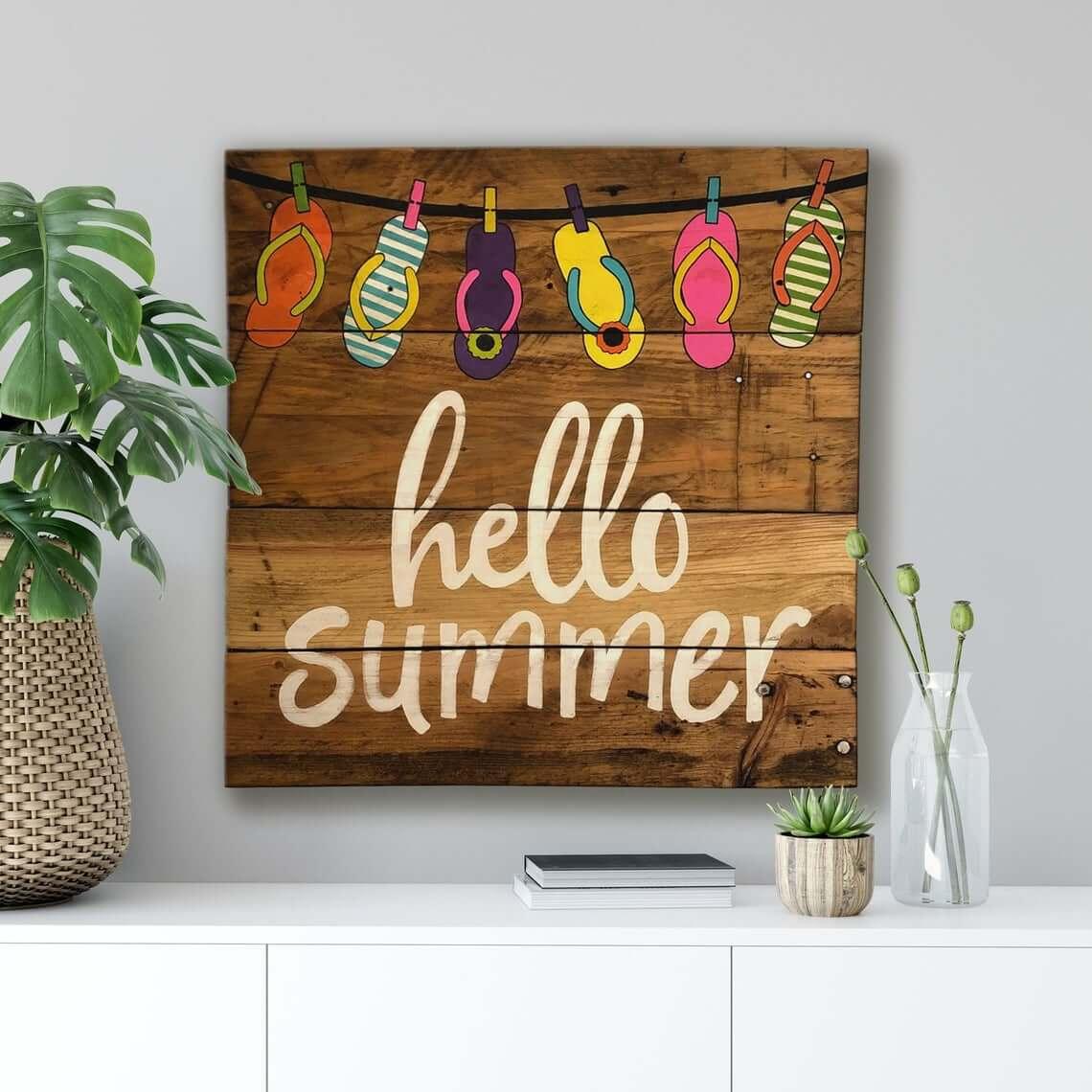 Bright Flip Flop Hello Summer Sign